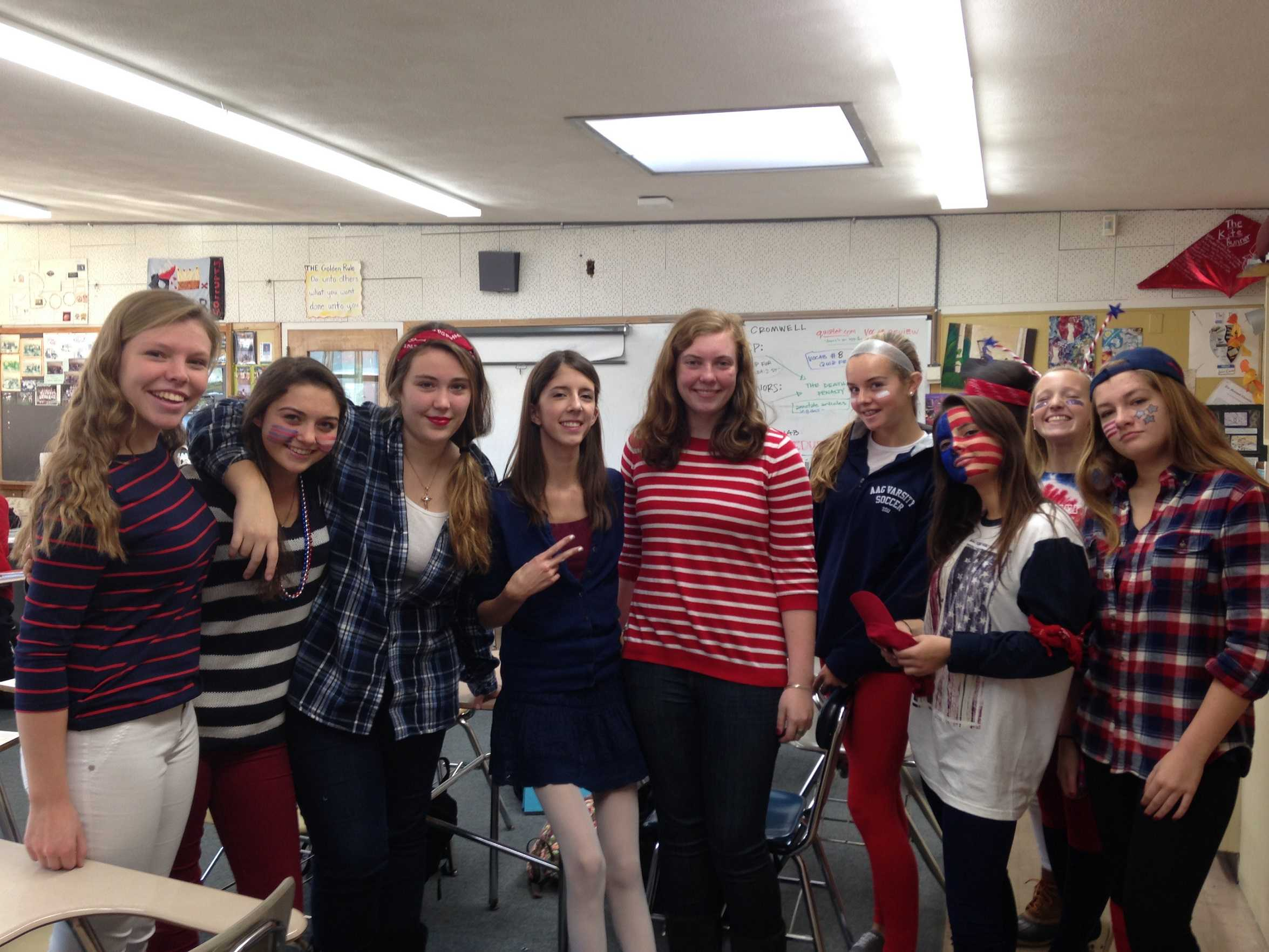 Freshmen on Red, White, and Blue Day