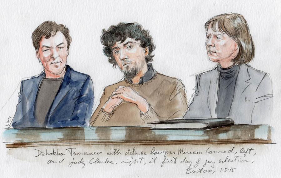 Tsarnaev+with+his+lawyers%2C+Miriam+Conrad+on+left+and+Judy+Clarke+on+right