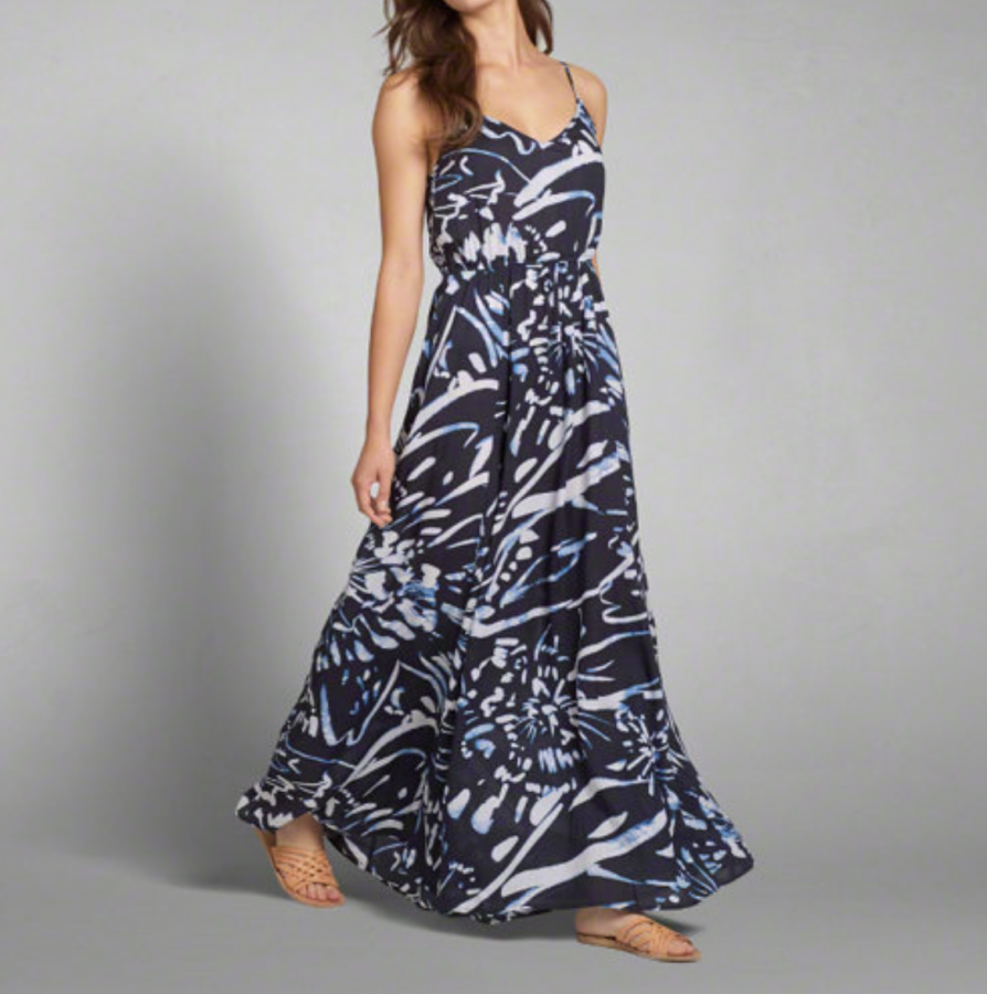 Patterned Rayon Maxi Dress