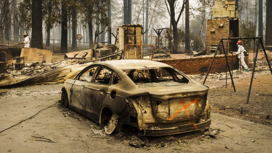 Picture of a house in Paradise California after the fire. (Photo Source: Vox.com)