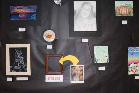 Emma Gannons wall at the Senior Showcase Event, photographed by Hannah Linehan