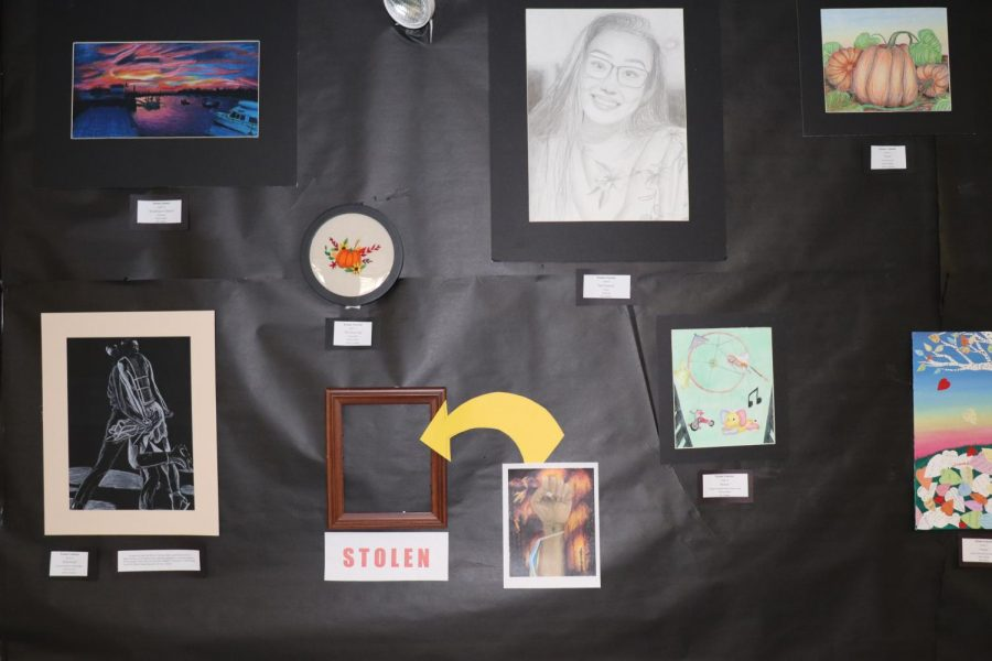Emma Gannon's wall at the Senior Showcase Event, photographed by Hannah Linehan