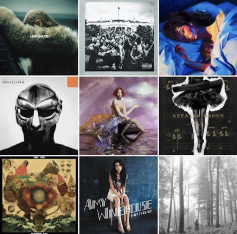 (From Left to Right/Top to Bottom: Lemonade - Beyonce, To Pimp A Butterfly - Kendrick Lamar, Melodrama - Lorde, Madvillainy - Madvillain, Oil Of Every Pearl's Un-Insides - Sophie, Broke With Expensive Taste - Azealia Banks, Helplessness Blues - Fleet Foxes, Back to Black - Amy Winehouse, Folklore - Taylor Swift)